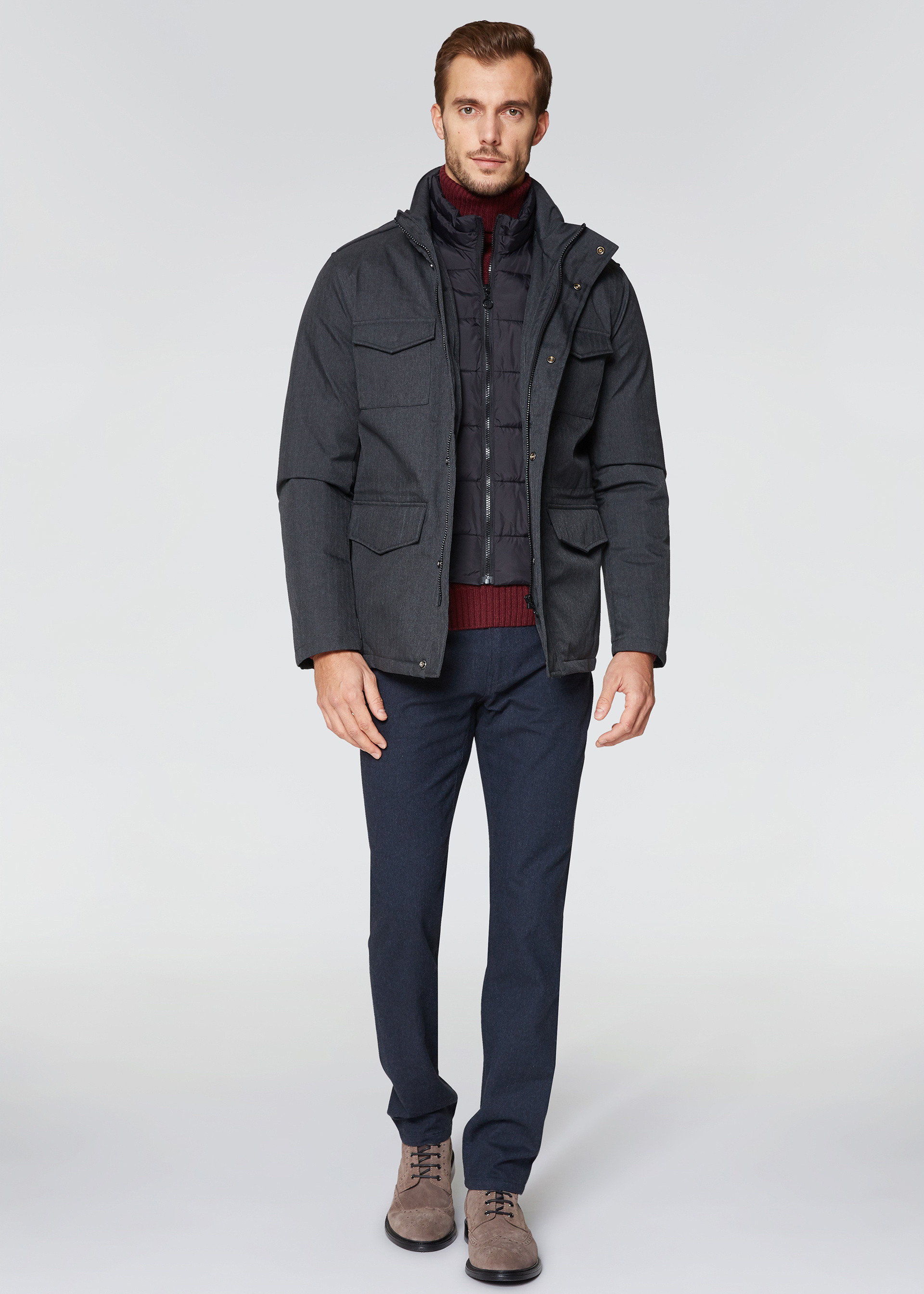Field jacket cappuccio