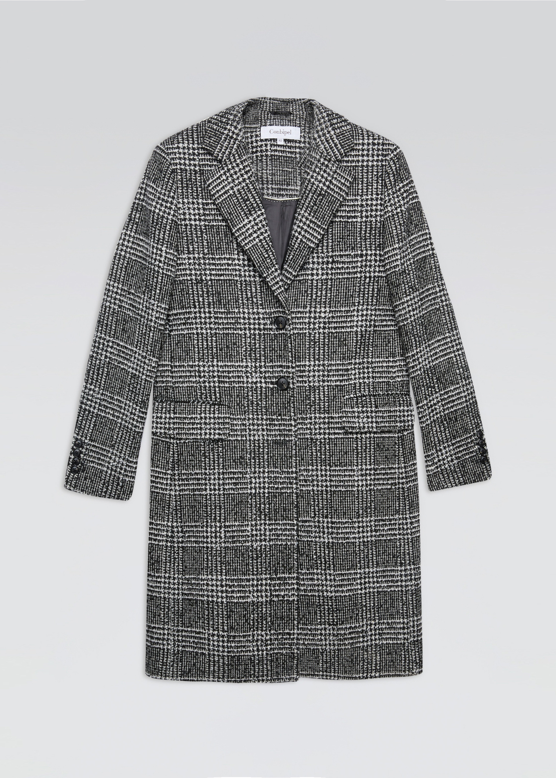 Cappotto check misto lana