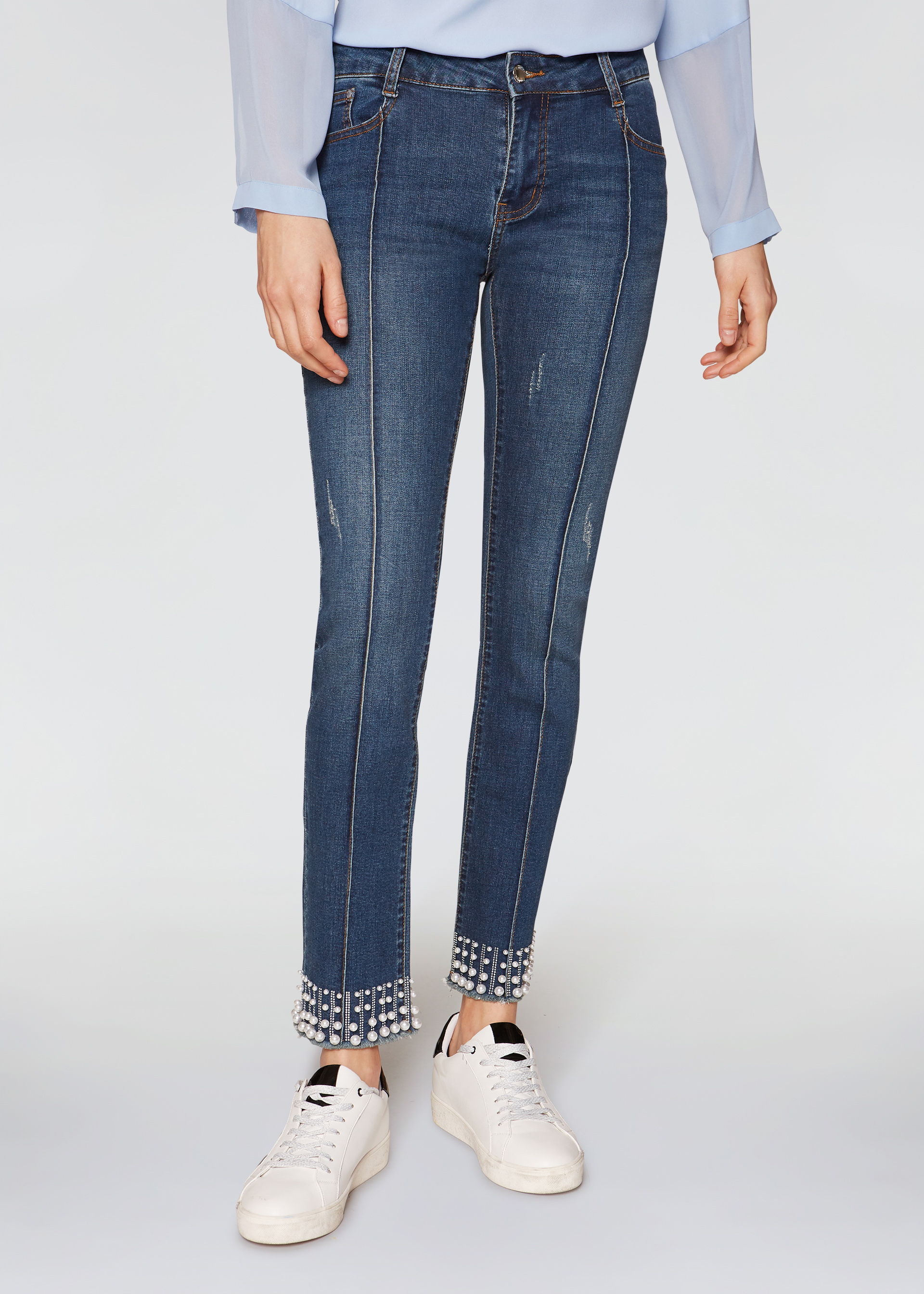 Jeans con perle skinny