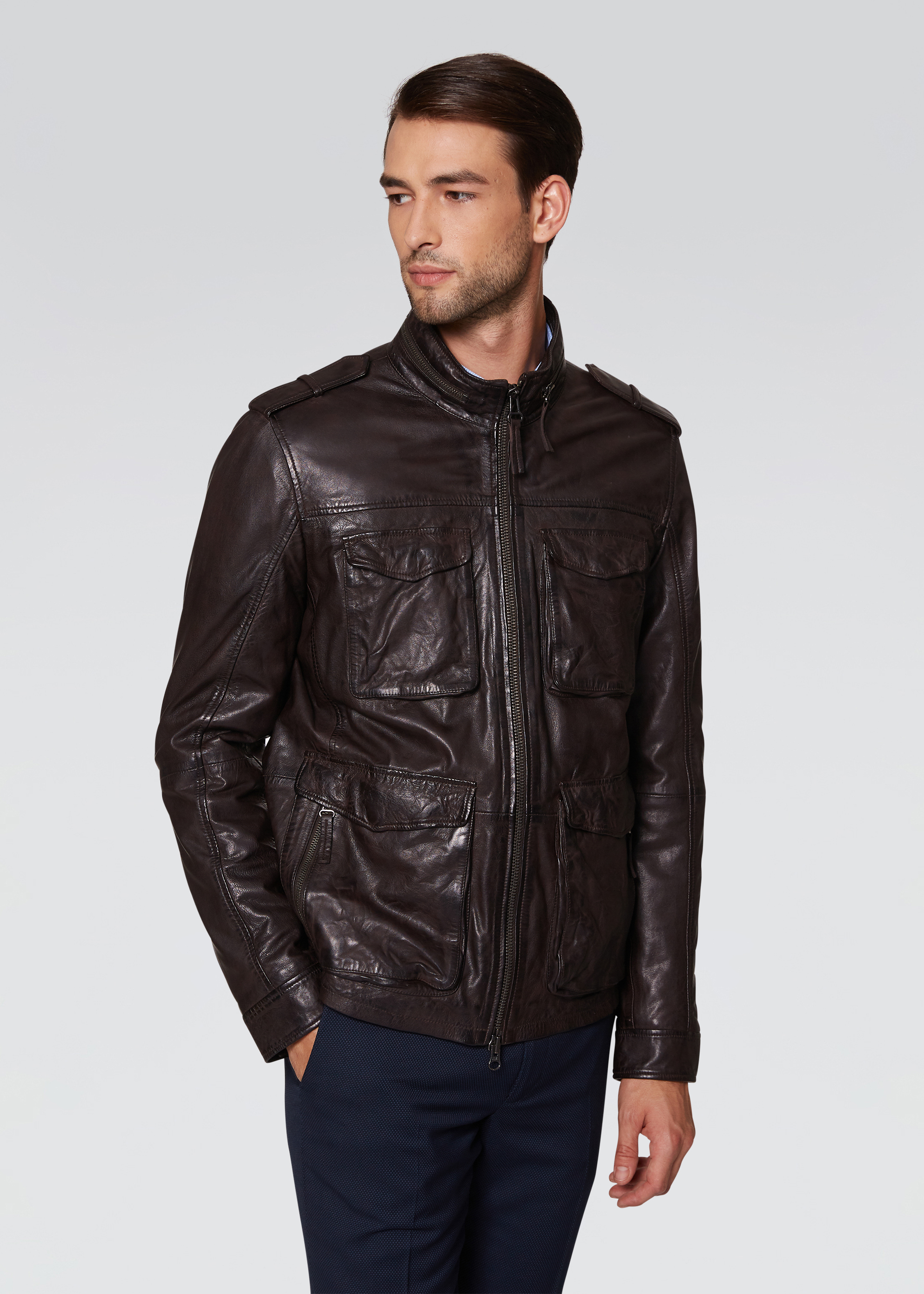 Field jacket in pelle